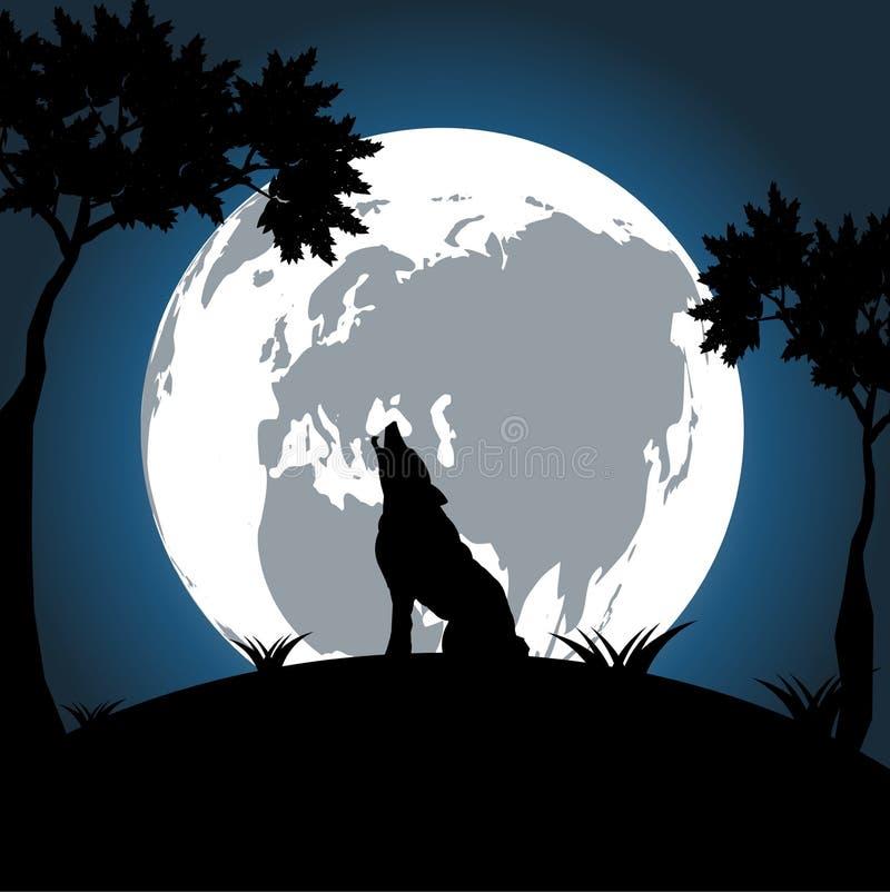Vargen på natten på månen är ljus och ljus bakgrund royaltyfri illustrationer