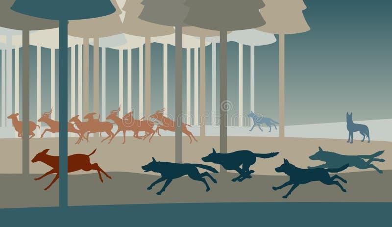 Vargjakt royaltyfri illustrationer