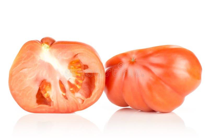 Variété crue fraîche de tomate de boeuf de tomate d'isolement sur le blanc photographie stock libre de droits