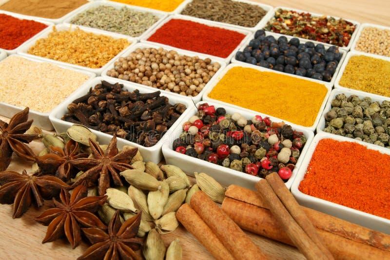 Variété d'épices. image stock