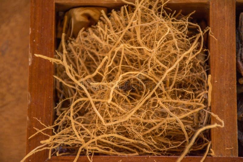 Variété d'assaisonnements et d'assaisonnements dans la boîte en bois photos stock