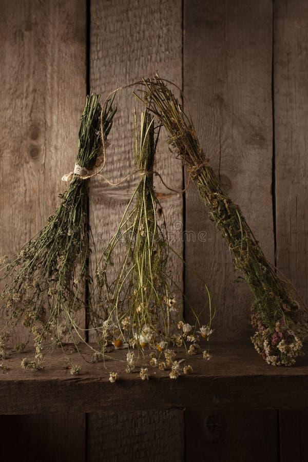 Variété d'herbes sèches accrochant sur une corde, usines sèches, phytothérapie image libre de droits