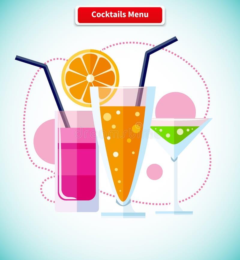 Variété d'icône de menu de cocktails de boissons illustration libre de droits