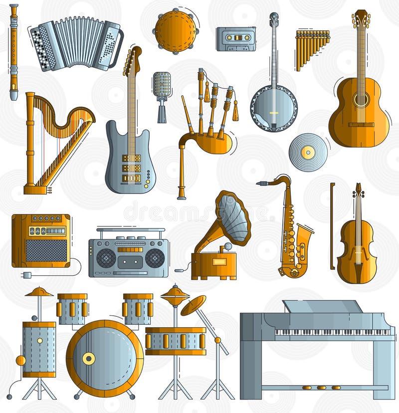 Variété d'instruments de musique et d'équipement différents de jouer Conception moderne d'illustration de fond de vecteur de disp illustration stock