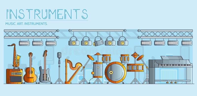 Variété d'instruments de musique et d'équipement différents de jouer Conception moderne d'illustration de fond de vecteur de disp illustration libre de droits