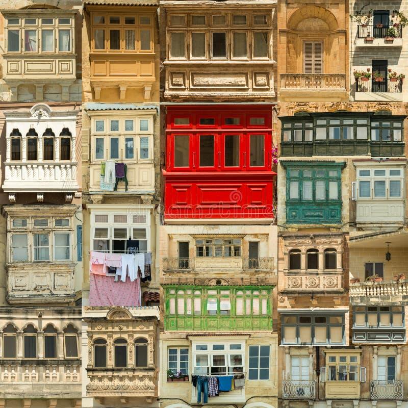Variété de balcon peu commun à Malte images libres de droits