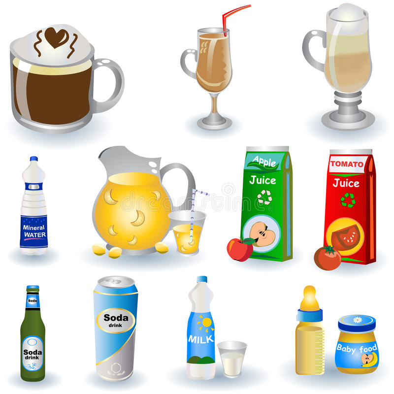 Variété de boissons illustration de vecteur