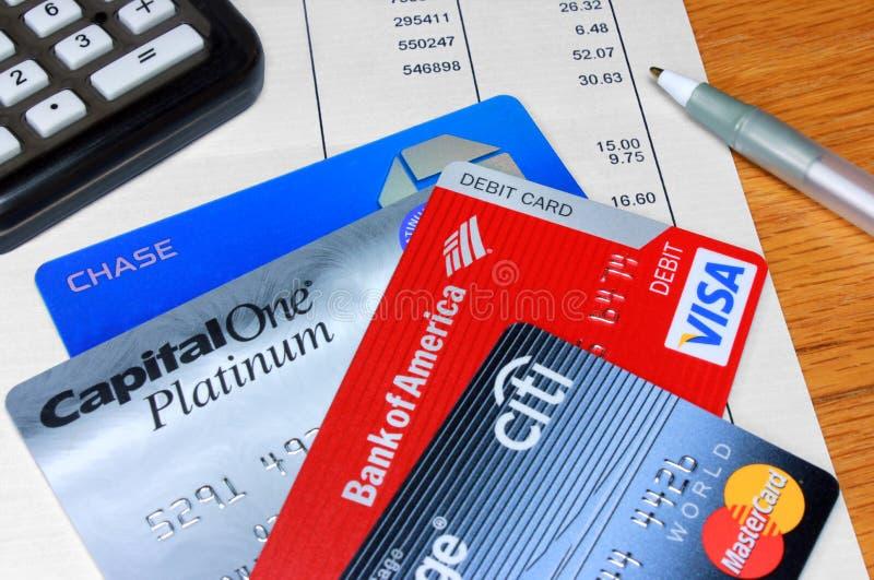 Variété de cartes de crédit et de débit images libres de droits
