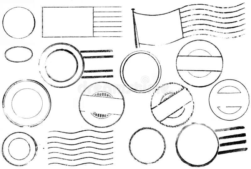 Variété de cru postale et de repères d'annulation illustration stock