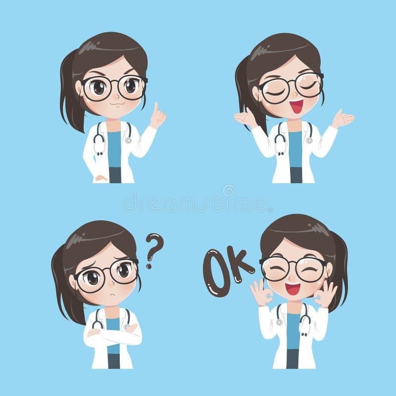 Variété de femme docteur de gestes et d'actions illustration stock