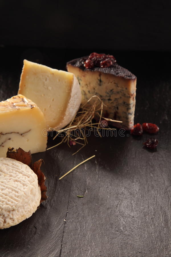 Variété de fromages gastronomes sur la surface texturisée image stock