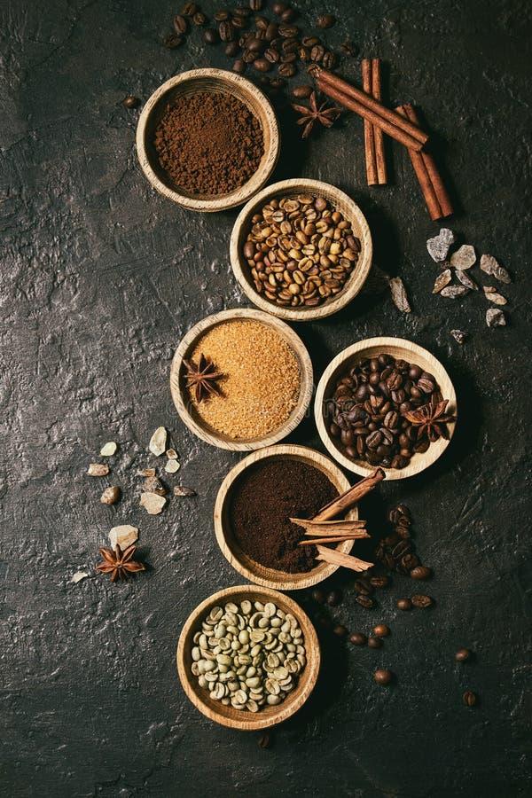 Variété de grains de café photo stock