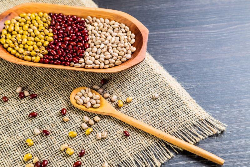 Variété de haricots sur la cuillère en bois sur le fond en bois fèves de mung, arachides, haricots rouges et haricots bruns image libre de droits