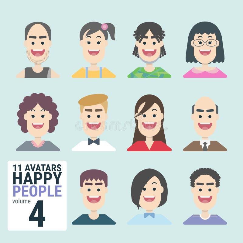 Variété de l'homme-11-Avatars-Happy-PEOPLE-volume-4 - Homme et femme pour votre travail d'affaires illustration libre de droits