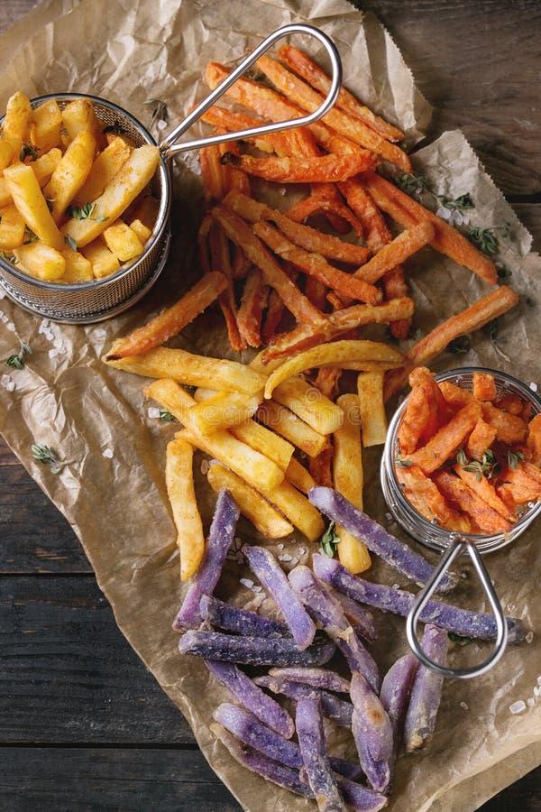 Variété de pommes frites photographie stock