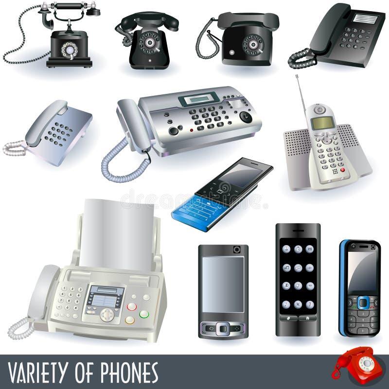 Variété de téléphones illustration libre de droits