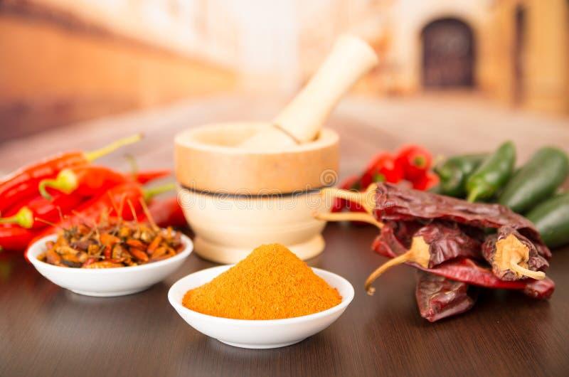 Variétés épicées de piment d'aji de piments photographie stock libre de droits