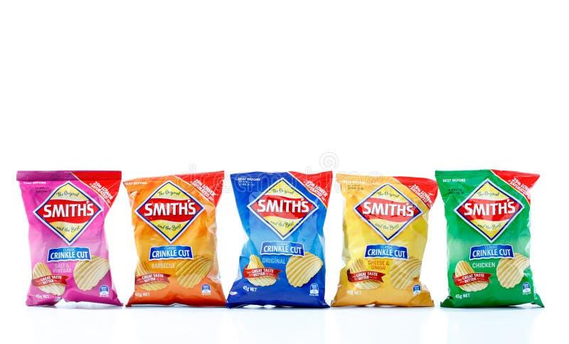 Variétés de chips de pommes chips de coupure de pli de Smiths image libre de droits