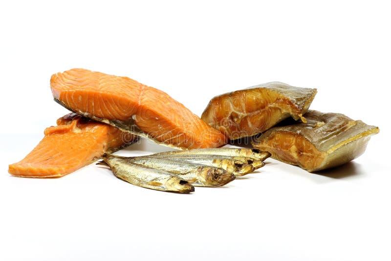 Variétés fumées de poissons photo libre de droits