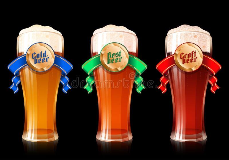 Variétés Lager Ribbon Craft Best Cold léger foncé en verre de bière illustration stock