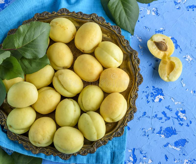 Variétés mûres d'abricot d'ananas dans un plat de cuivre image libre de droits