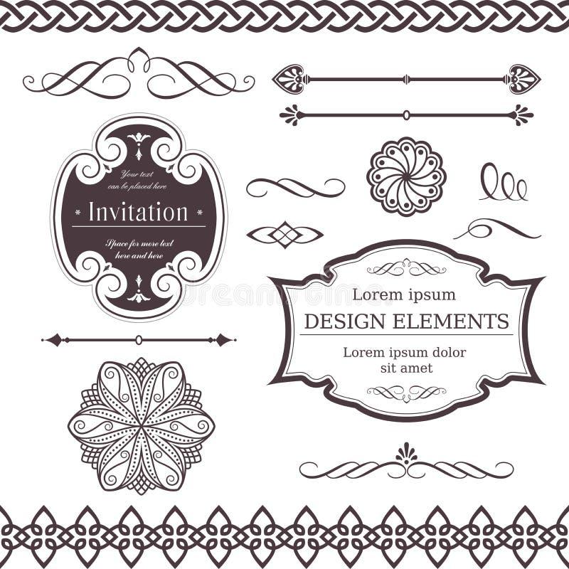 Vari bordi, divisori, swirly elementi di disegno royalty illustrazione gratis