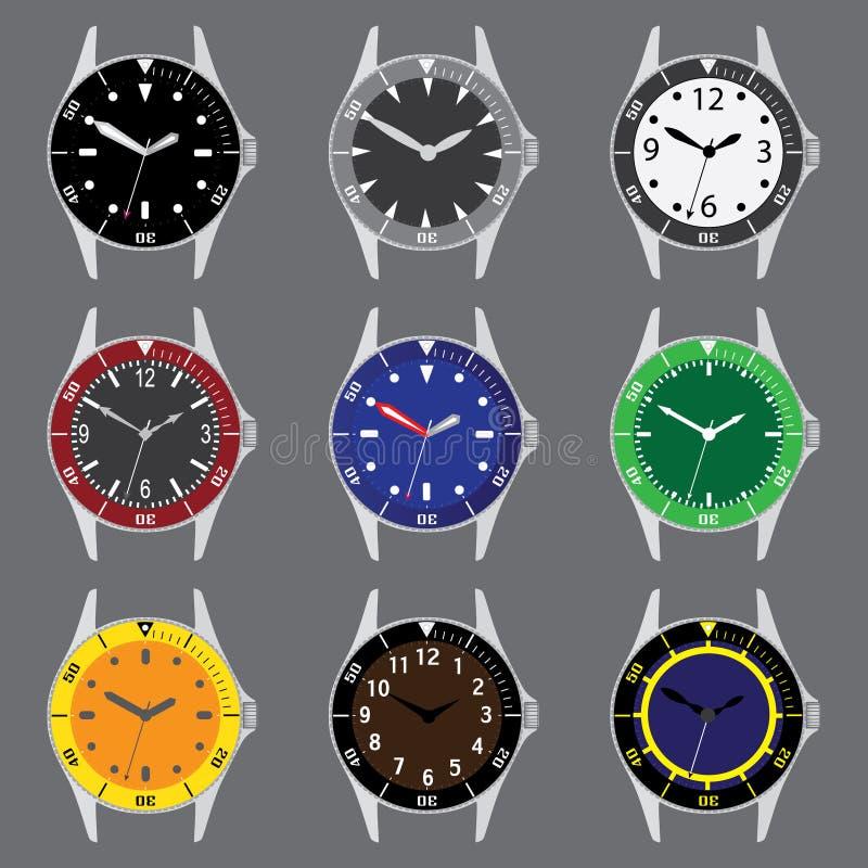 Vari cassa per orologi e quadranti degli operatori subacquei di colore con le mani royalty illustrazione gratis