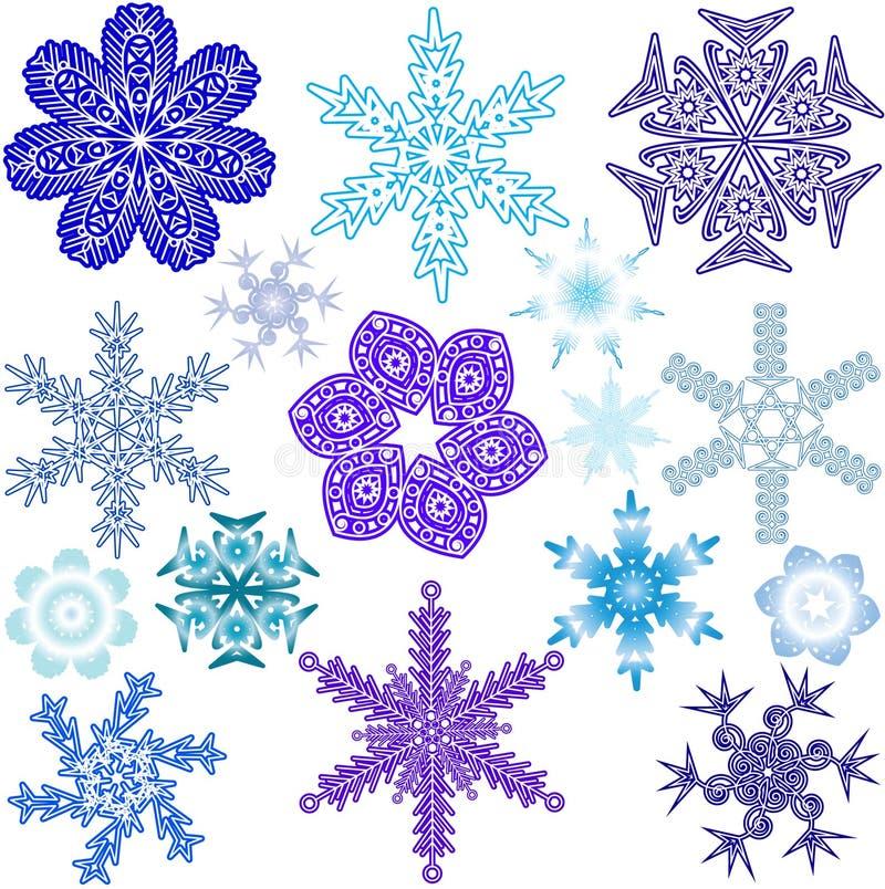 Vari forme, dimensioni e colori di fiocchi di neve immagini stock libere da diritti