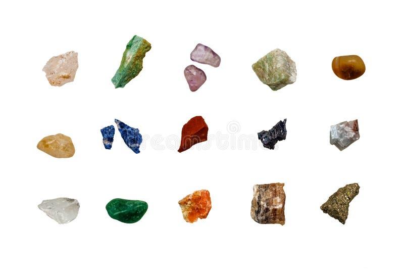 Vari frammenti crudi colorati delle pietre preziose fotografia stock libera da diritti