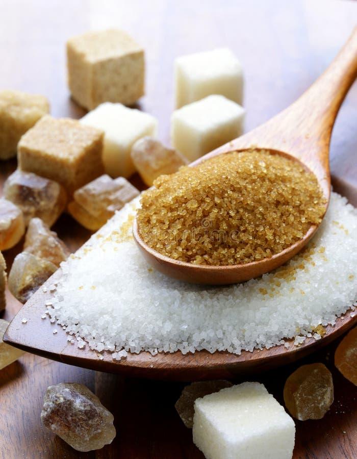 Vari generi di zucchero, marrone, bianco e raffinato fotografia stock