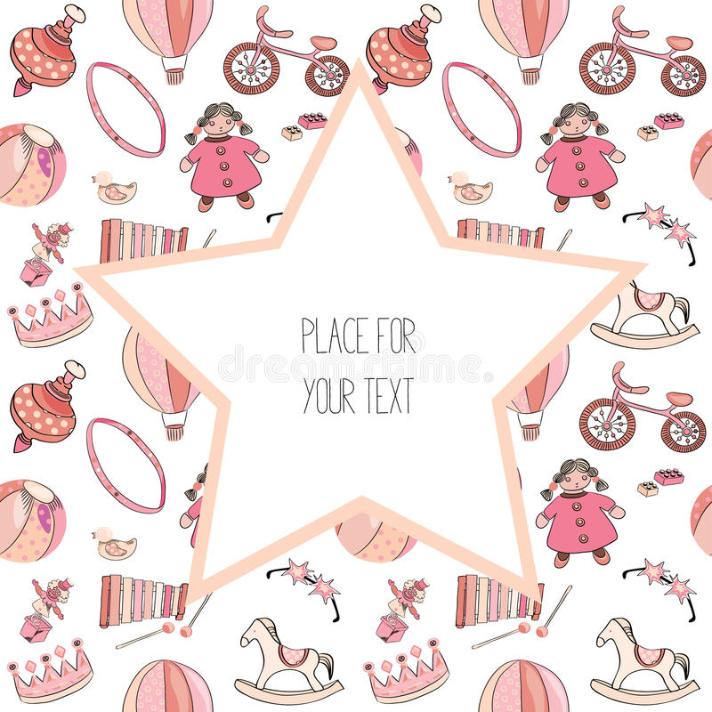 Vari giocattoli rosa e rossi per i bambini Reticolo senza giunte Con la grande stella con il posto per testo Illustrazione di vet royalty illustrazione gratis