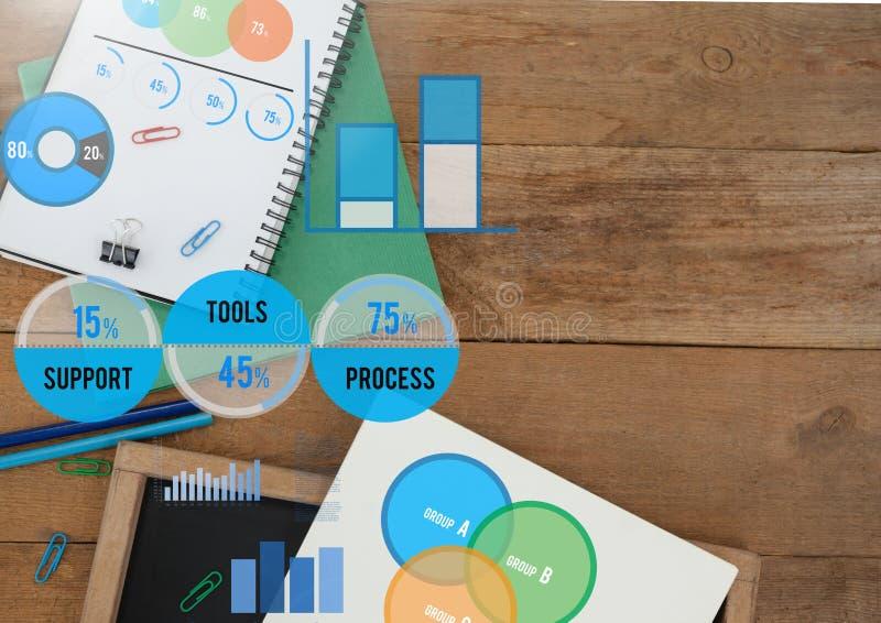 Vari grafici e statistiche con la cancelleria della scuola illustrazione vettoriale
