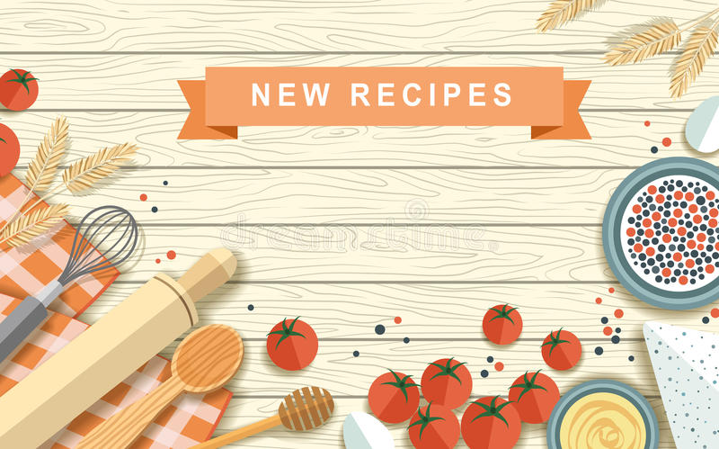Vari ingredienti di ricetta nella progettazione piana royalty illustrazione gratis