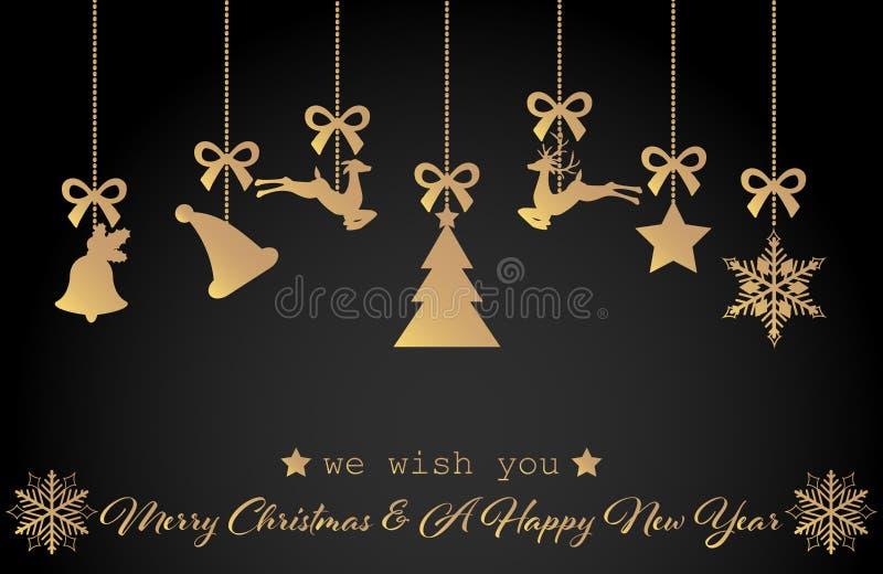 Vari ornamenti d'attaccatura di Natale quali il fiocco di neve, la stella, la renna, la campana e l'albero illustrazione vettoriale