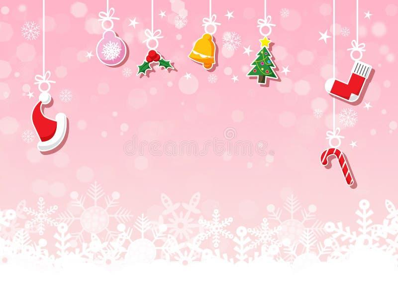 Vari ornamenti d'attaccatura di Natale su fondo rosa con il fiocco di neve illustrazione di stock