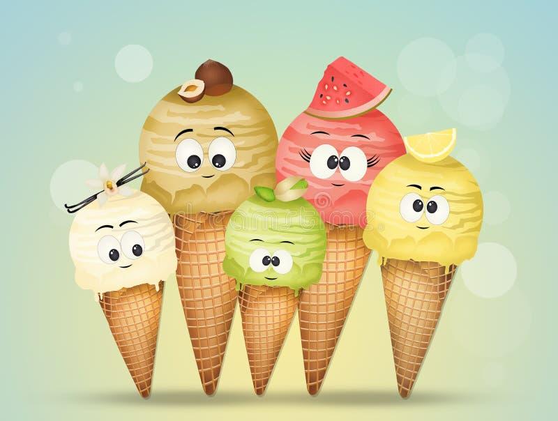 Vari sapori del gelato con i fronti divertenti illustrazione di stock