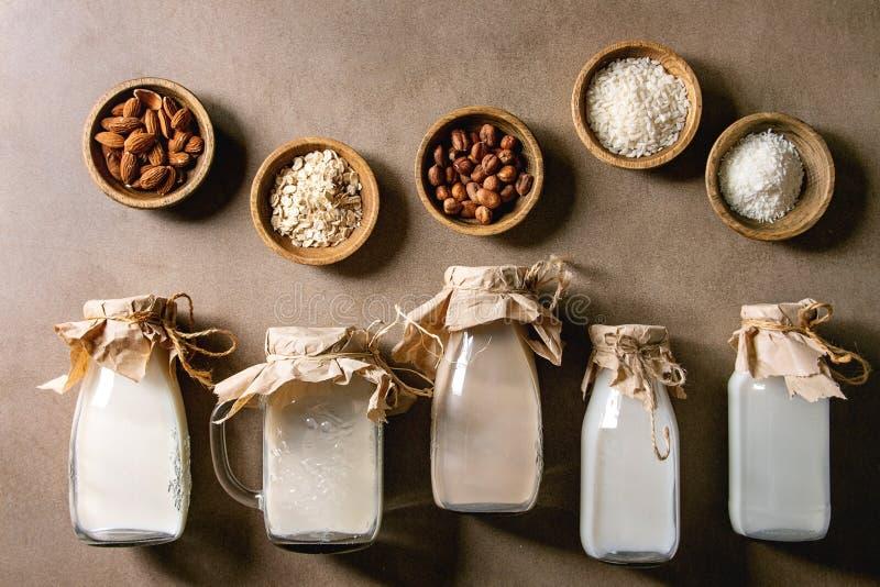 Vari?t? de lait sans aucun produit laitier images libres de droits