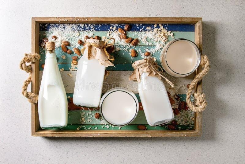 Vari?t? de lait sans aucun produit laitier photo libre de droits