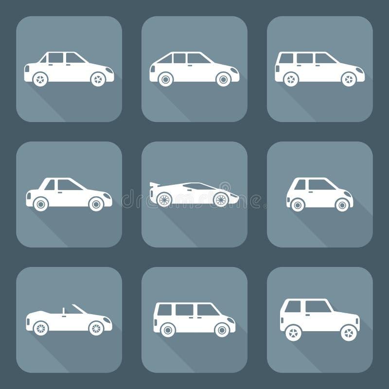 Vari tipi di corpo di stile piano bianco di raccolte delle icone delle automobili illustrazione di stock