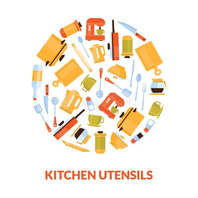Vari utensili della cucina nell'illustrazione di vettore di forma circolare illustrazione di stock