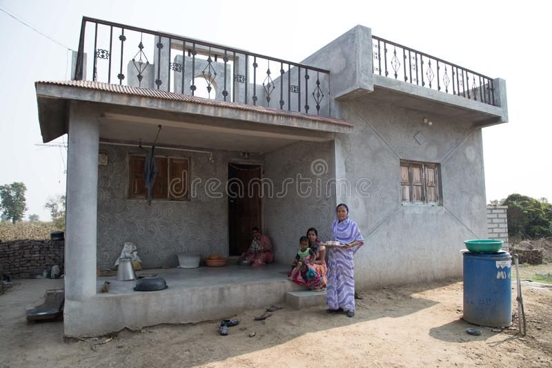 Vari village, Maharashtra, India -January 9, 2018: lovely kinds and their cottages. Daily life in Indian villages near Godavari ri royalty free stock photo