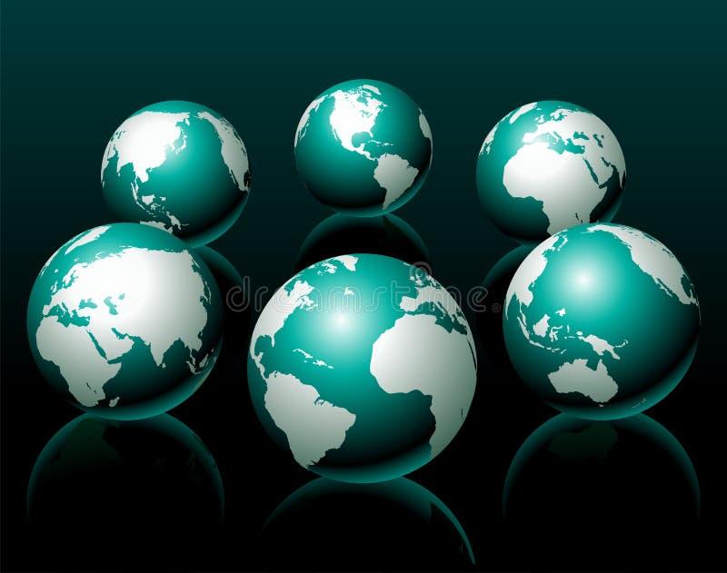 Variação da ilustração seis do globo do vetor ilustração stock