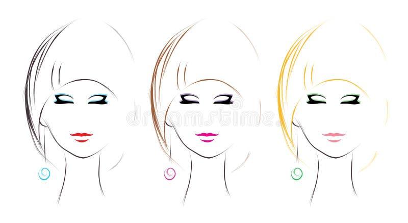 Download Grupo Do Penteado Da Mulher Ilustração do Vetor - Ilustração de lush, beleza: 29835794