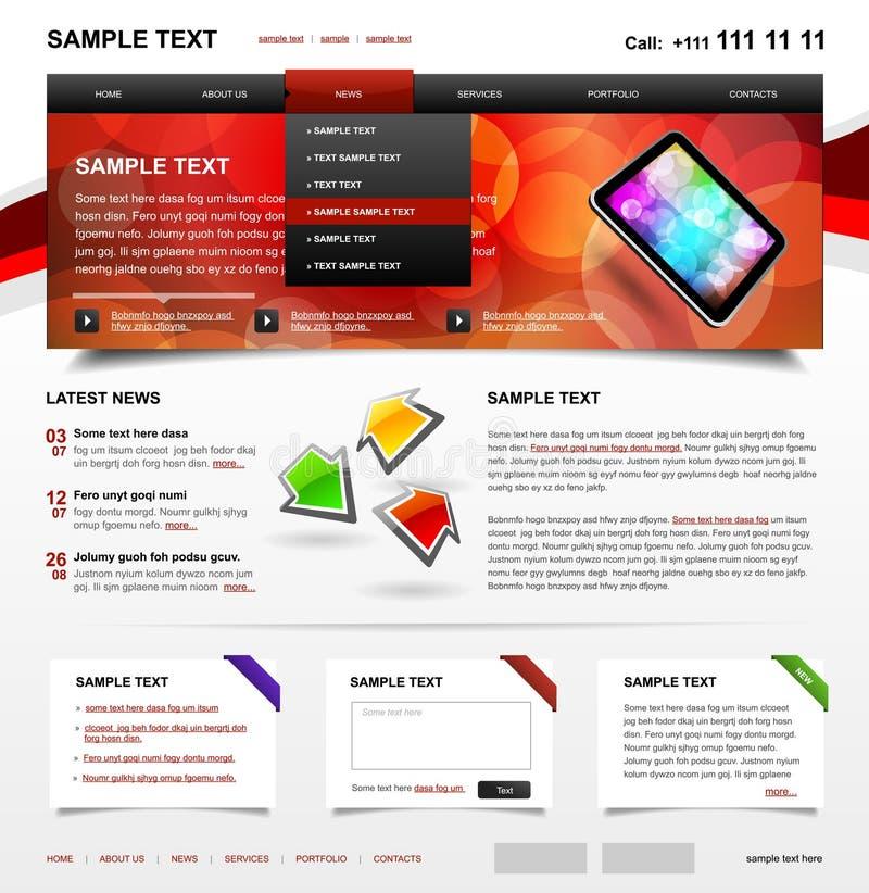 Variação Editable 2 da cor do molde 4. do Web site ilustração stock