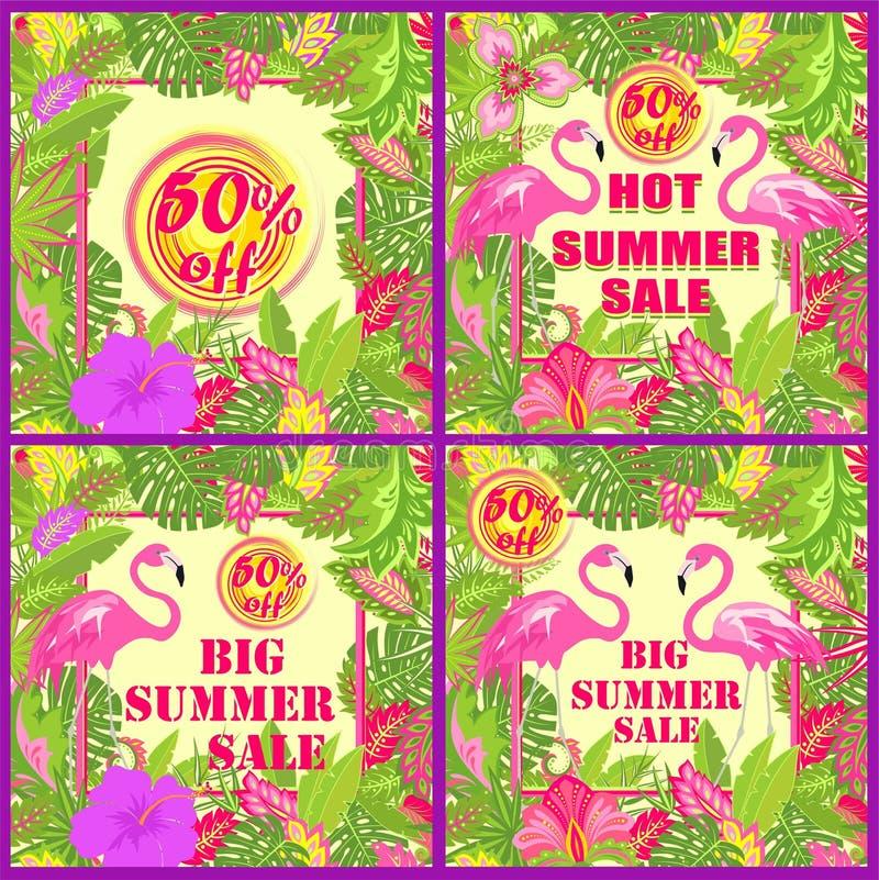 Variação floral colorida das etiquetas para a venda quente do verão com folhas tropicais, sol, as flores exóticas e os flamin ilustração do vetor