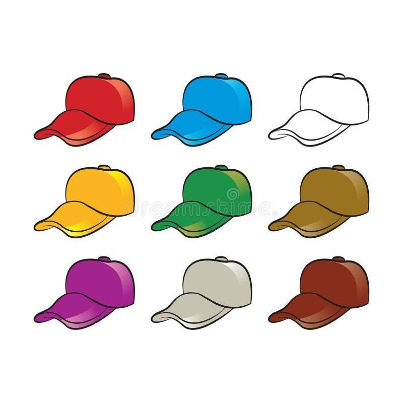 Variações da cor do chapéu ou do tampão isoladas no branco ilustração royalty free