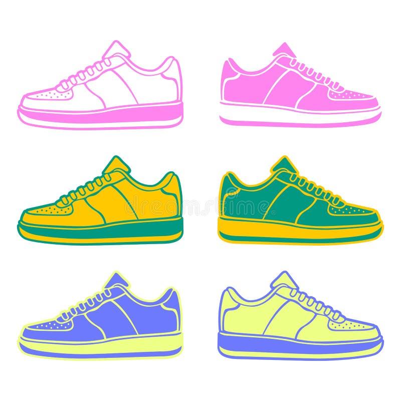 Variações de pressa da cor dos ícones do tênis de corrida imagem de stock