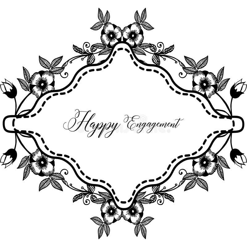 Varia forma dell'impegno felice della carta, struttura floreale d'annata, isolata su un contesto bianco Vettore illustrazione vettoriale