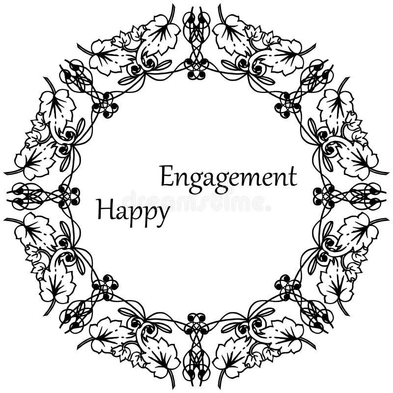 Varia forma dell'impegno felice della carta, struttura floreale d'annata, isolata su un contesto bianco Vettore illustrazione di stock