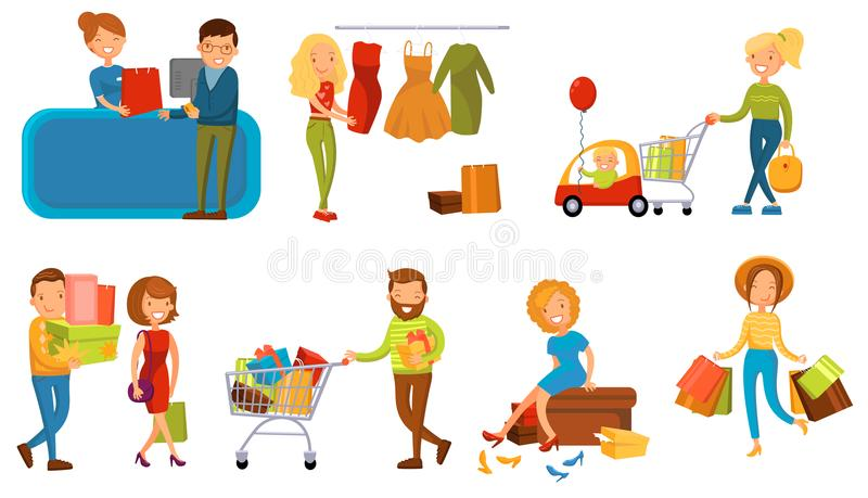 Varia gente che compera in un insieme del centro commerciale, nelle donne sorridenti ed in un uomo con il vettore del fumetto dei illustrazione vettoriale